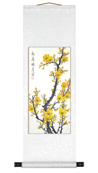 Traditional Chinese Yellow Plum Blossoms Scroll