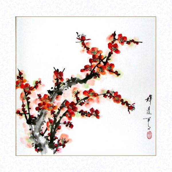 Chinese Red Plum Blossoms Brush Painting