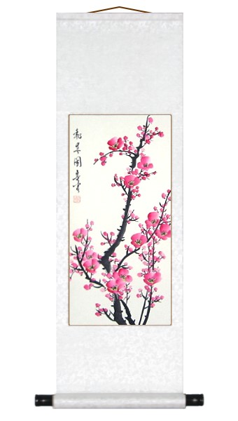 Chinese Pink Plum Blossoms Art Scroll