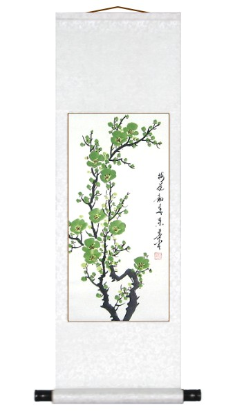 Auspicious Green Plum Blossoms Wall Scroll Painting